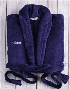 gifts: Personalised Dark Blue Fleece Gown!