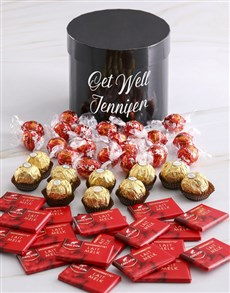 gifts: Personalised Assorted Get Well Mixed Choc Hat Box!