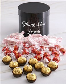 gifts: Personalised Assorted Thank You Mixed Choc Hat Box!