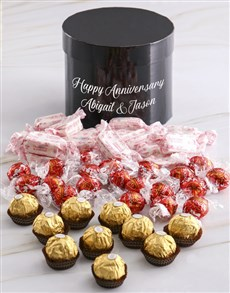 gifts: Personalised Assorted Anniversary Choc Hat Box!