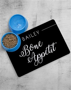 gifts: Personalised Bone Appetit Placemat And Bowls!