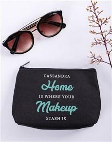 gifts: Personalised Makeup Stash Black Cosmetic Hamper!