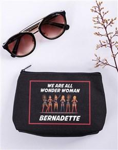 gifts: Personalised Wonder Woman Black Cosmetic Hamper!