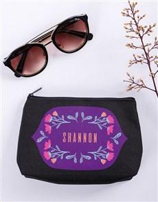 gifts: Personalised Flower Flair Black Cosmetic Hamper!