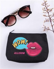 gifts: Personalised Wow Black Cosmetic Bag Hamper!