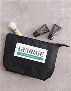 gifts: Personalised Mens Black Grooming Wash Bag Gift!