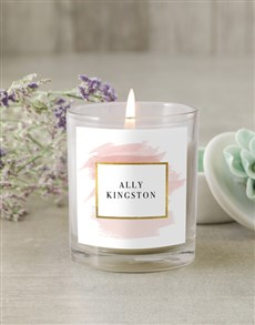 gifts: Personalised Pastel Gold Candle!