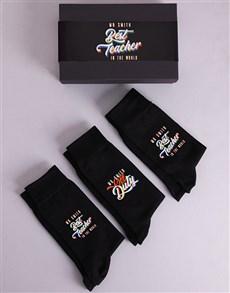 gifts: Personalised 3 Pair Best Teacher Socks Box!