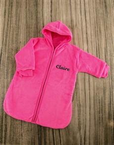 gifts: Personalised Pink Fleece Baby Sleeping Jacket!