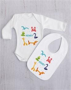 gifts: Personalised Balloon Animal Baby Gift Set!