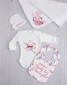 gifts: Personalised Flamingle Baby Gift Set!