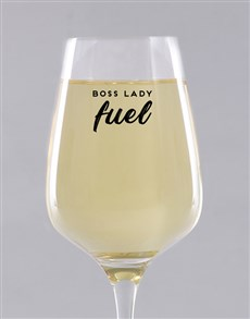 gifts: Personalised Boss Lady Fuel Wine Glass!