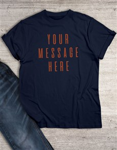 gifts: Personalised Own Message Retro Navy T Shirt!