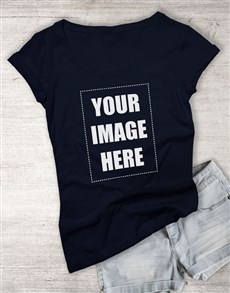 gifts: Personalised Own Image Navy Ladies T Shirt!