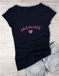 gifts: Personalised Name Glitter Navy Ladies T Shirt!