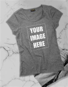 gifts: Personalised Own Image Grey Ladies T Shirt!
