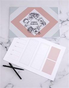 gifts: Personalised Geo Floral Desk Pad!
