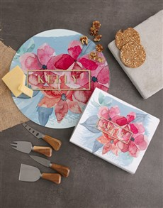 gifts: Personalised Floral Name Cheese Knives !
