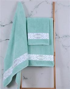 gifts: Personalised Vintage Duck Egg Towel Set !