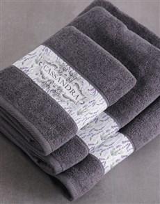 gifts: Personalised Vintage Charcoal Towel Set!