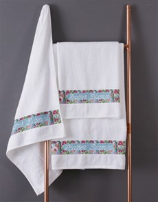 gifts: Personalised Botanical White Towel Set !