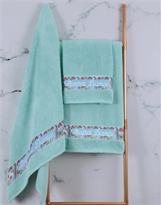 gifts: Personalised Botanical Duck Egg Towel Set !