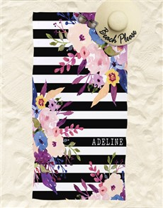 gifts: Personalised Floral Beach Towel!