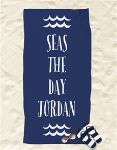 gifts: Personalised Seas The Day Beach Towel!