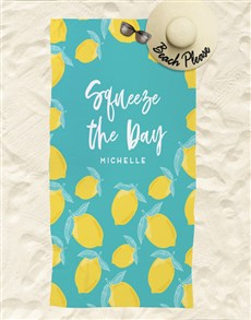 gifts: Personalised Squeeze The Day Beach Towel!