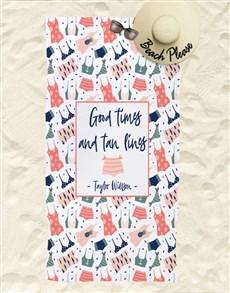 gifts: Personalised Tan Lines Beach Towel !