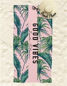 gifts: Personalised Good Vibes Beach Towel!