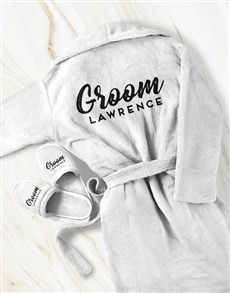 gifts: Personalised Groom Gown and Slipper Set!