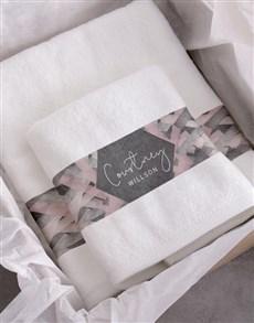 gifts: Personalised Geometric Print White Towel Set!