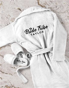 gifts: Personalised Bride Tribe Gown and Slipper Set!