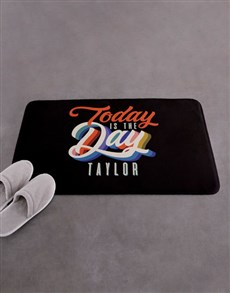 gifts: Personalised Today Is The Day Bath Mat!