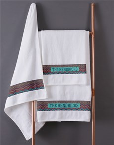 gifts: Personalised Afro Geometric White Towel Set!