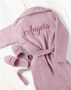 gifts: Personalised Pink Glitter Gown and Slipper Set!