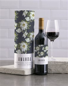gifts: Personalised Blue Floral Wine And Tube Gift!