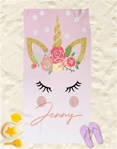 gifts: Personalised Unicorn Beach Towel!
