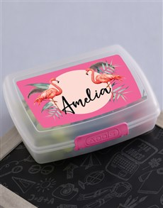 gifts: Personalised Flamingo Lunch Box!