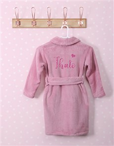 gifts: Personalised Glitter Heart Pink Fleece Gown!