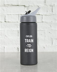 gifts: Personalised Reign Black Waterbottle!