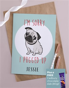 gifts: Personalised Pug Apology Card !