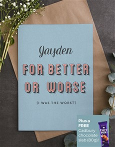 gifts: Personalised For Better Or Worse Apology Card!