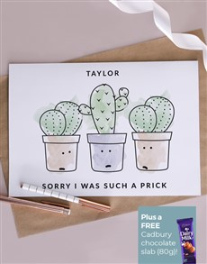 gifts: Personalised Watercolour Cacti Apology Card!