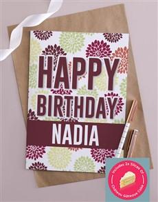 cards: Personalised Maroon Happy Birthday Card!