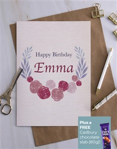 cards: Personalised Blossom Wreath Birthday Card!