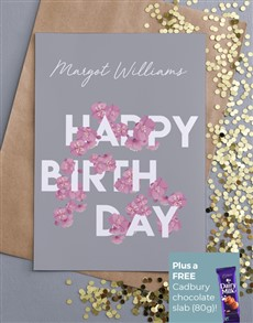 cards: Personalised Birthday Blossoms Card!