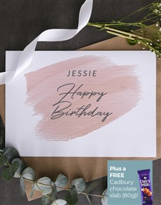 cards: Personalised Pink Blush Birthday Card!