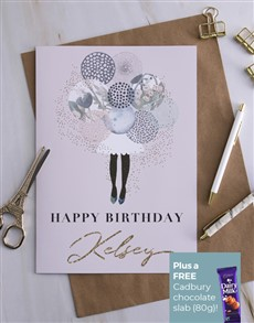 cards: Personalised Balloon Girl Birthday Card!